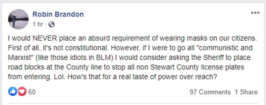 Stewart County Mayor Robin Brandon threatens taste of power over reach (Source Facebook)