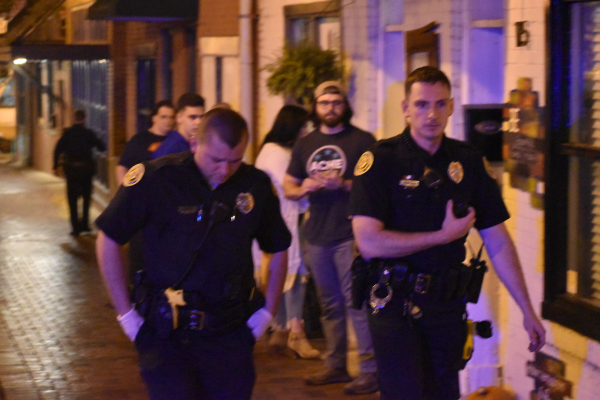 Clarksville Police Officers on Strawberry Alley